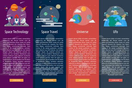 astrophysics: Space and Universe Vertical Banner Concept Illustration