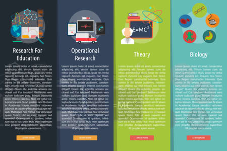 Science and Research Vertical Banner Concept Vectores