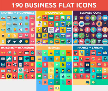 e commerce icon: 190 Vector Set of Business Flat Icon