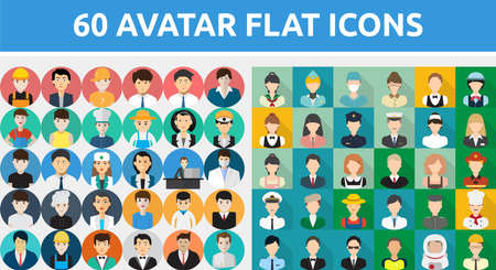 60 Vector Set of Avatar Flat Icons Banque d'images - 60647555