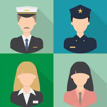 female cop: Avatar Icons Set