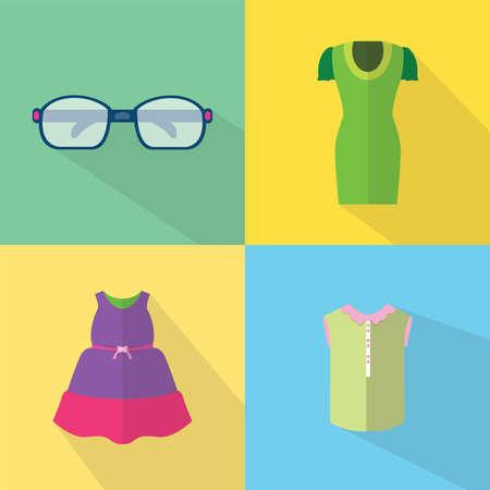 Kleding en accessoires Icons Set