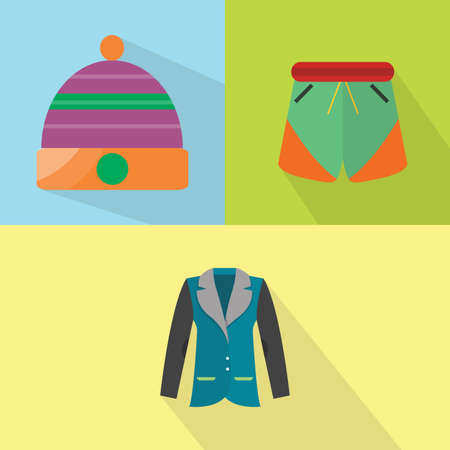 Clothes and Accessories Icons Set Illustration