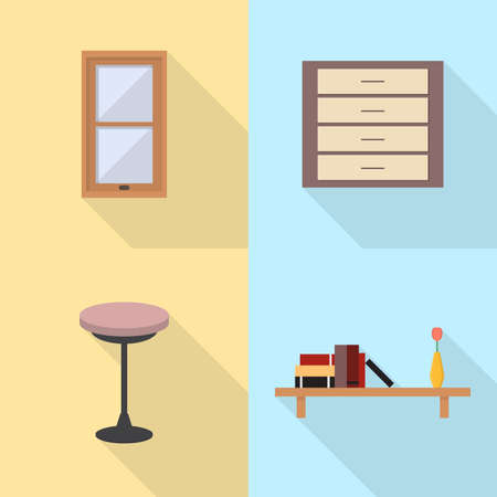 Interior and Furniture Icons Set Illustration