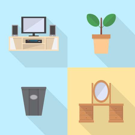 Interieur en meubels Icons Set Stock Illustratie