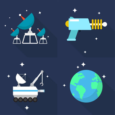 satellite launch: Space Icons Set