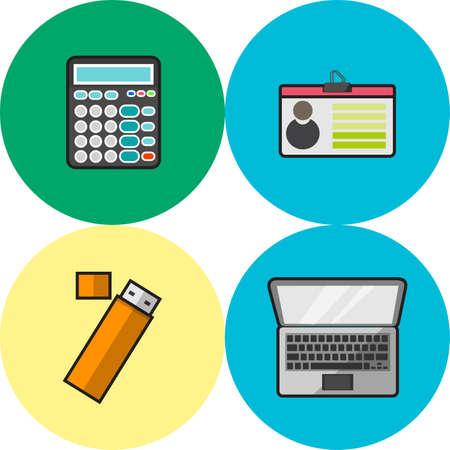 flashdisk: Business Icons Set Illustration
