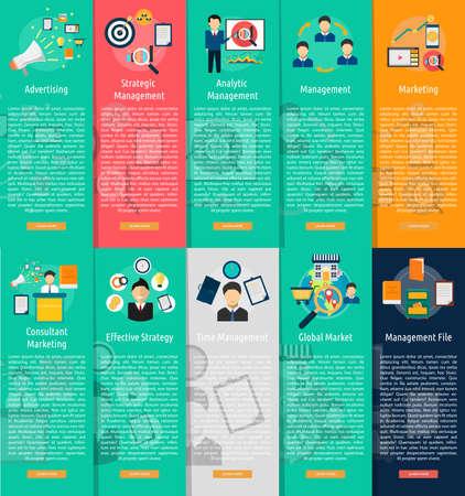 Marketing e Management Vertical Banner Concetto Archivio Fotografico - 62297467