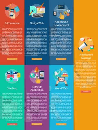 aplication: Web and Development Vertical Banner Concept