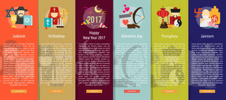 happy new year banner: Religion and Celebrations Vertical Banner Concept Illustration