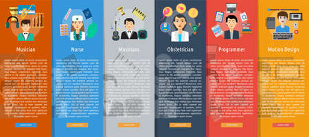 profession: Human Profession Vertical Banner Concept Illustration