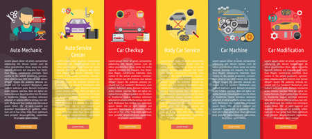motor vehicle: Mechanic and Car Repair Vertical Banner Concept