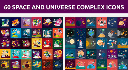 moon rover: Bundle Space and Universe Complex Icon Illustration