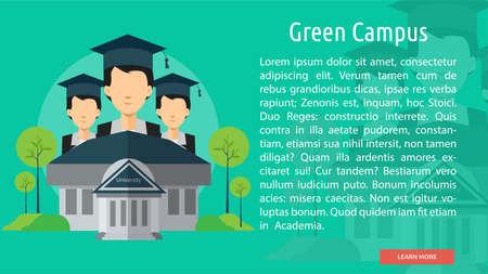 緑の多いキャンパス概念バナー  イラスト・ベクター素材