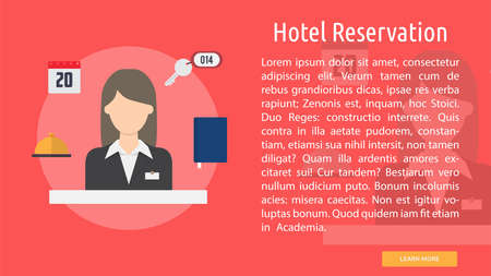 Hotel Reservation Conceptual Banner 矢量图像