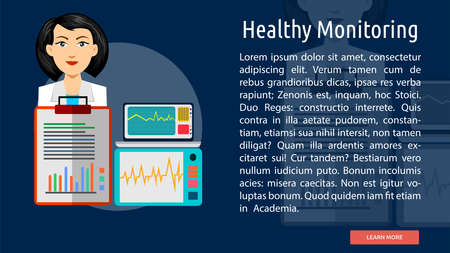 Healthy Monitoring Conceptual Banner Illustration
