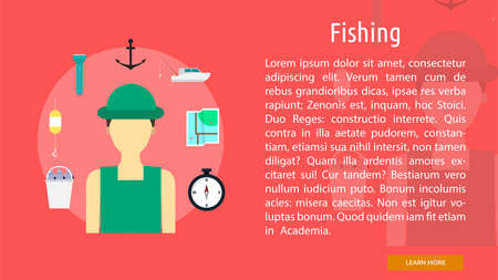 Banner conceptual de pesca Foto de archivo - 64416244