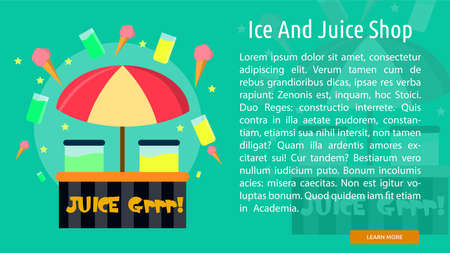 Ice And Juice Shop Conceptual Banner Çizim