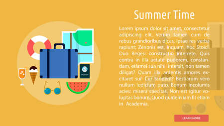 Summer Time Conceptual Banner Ilustracja