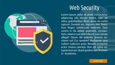 web security: Web Security Conceptual Banner Illustration