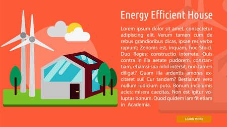 Energy Efficient House Conceptual Banner Stock Vector - 64588862