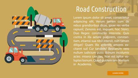 Road Construction Conceptual Banner Ilustração