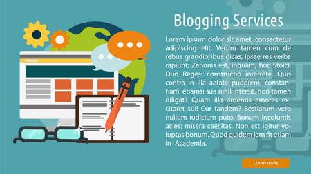 Blogging Services Conceptual Banner Иллюстрация