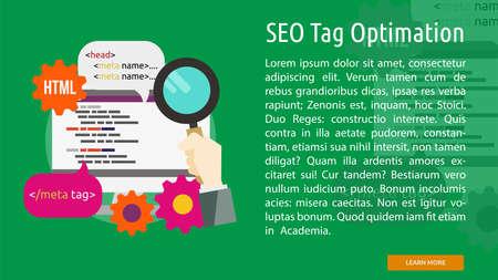 Seo Tag Optimation Conceptual Banner Ilustrace