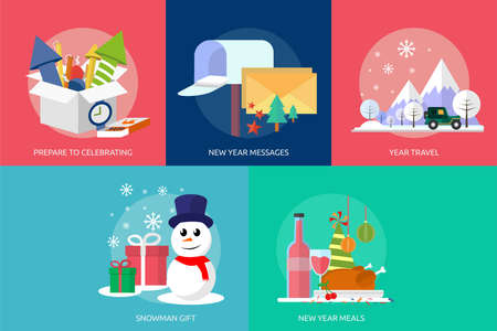 new year celebration: Celebration Happy New Year Icon Set Illustration
