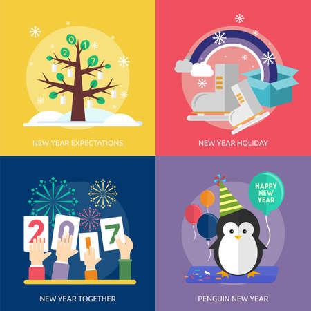shoe box: Celebration Happy New Year Icon Set Illustration