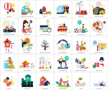 Celebration Happy New Year Icon Set Ilustrace