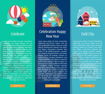 new year celebration: Celebration Happy New Year Vertical Banner Concept