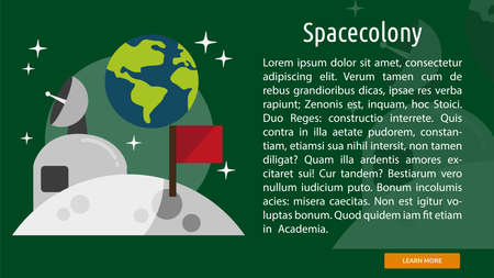 Space Colony Conceptual Banner 向量圖像