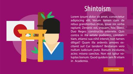 Shintoism Conceptual Banner Illustration