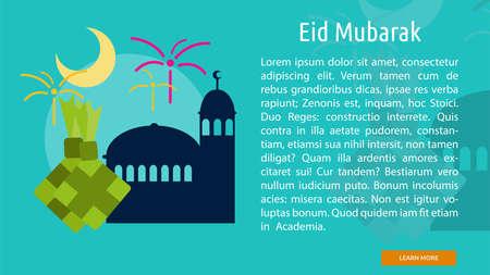 Eid Mubarak Conceptual Banner Ilustração