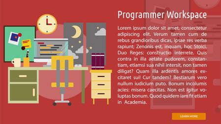 moon chair: Programmer Workspace Conceptual Banner