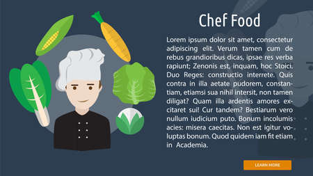 Chef Food Conceptual Banner Çizim