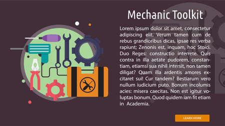 toolkit: Mechanic Toolkit Conceptual Banner Illustration