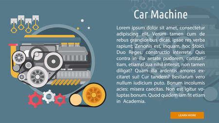 Car Machine Conceptual Banner Illustration