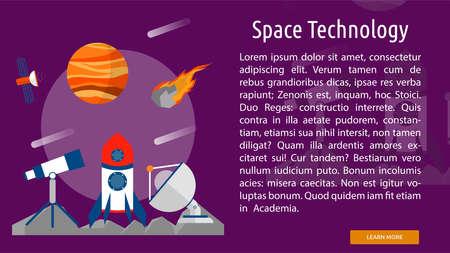 スペース技術概念バナー  イラスト・ベクター素材