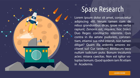 Space Research Conceptuele Banner Stock Illustratie
