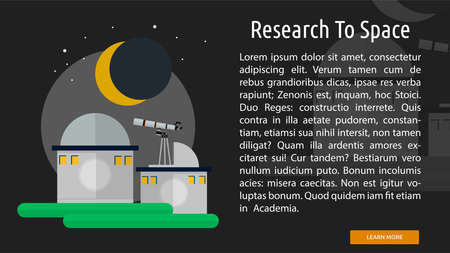 Research To Space Conceptual Banner Illustration
