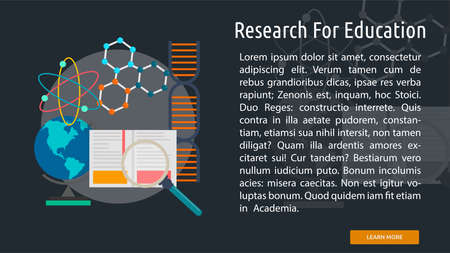 Research For Education Conceptual Banner Çizim