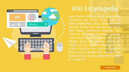 wiki: Wiki Encyclopedia Conceptual Banner Illustration