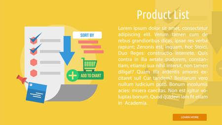 Liste des produits Bannière Conceptuel Banque d'images - 68456642