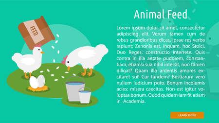Animal Feed Banner Conceptuel Vecteurs