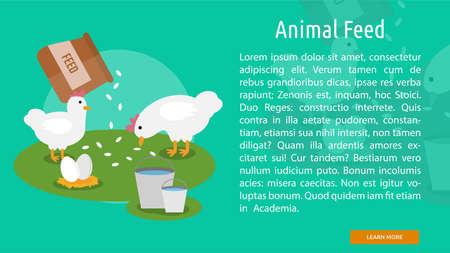 Animal Feed Conceptual Banner Vettoriali