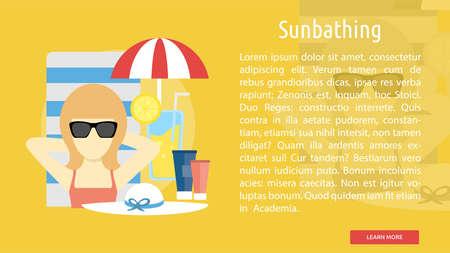 sexy umbrella: Sunbathing Conceptual Banner