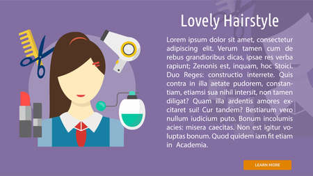 Lovely Hairstyle Conceptual Banner Ilustracja