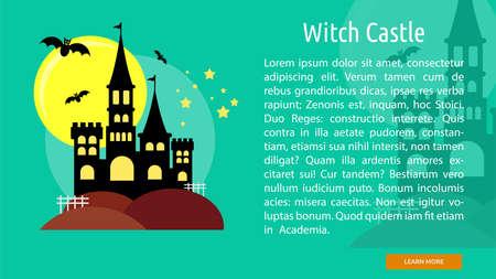 Witch Castle Conceptual Banner Ilustração